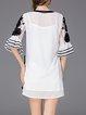 White Half Sleeve Appliqued Mini Dress