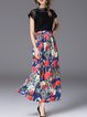 Black Floral Two Piece Elegant Floral-print Midi Dress