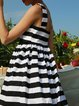 Black Stripes Spaghetti Midi Dress
