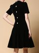 Black Velvet Short Sleeve Crew Neck Midi Dress