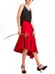 Red Asymmetric Midi Skirt