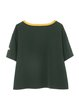 Green Crew Neck Cotton-blend Appliqued Casual T-Shirt