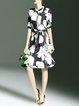 Multicolor Buttoned Floral Half Sleeve Shirt Dress