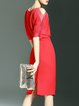 Red V Neck Simple Polyester Midi Dress