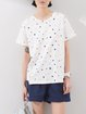 Blue Printed Polka Dots Casual Crew Neck T-Shirt
