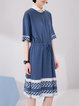 Drawstring Blue Cotton Simple H-line Midi Dress