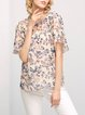 Multicolor Floral Casual Silk Crew Neck Blouse