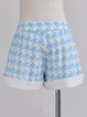 Blue Polyester Houndstooth Symmetric Sweet Short