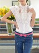 Paneled Balloon Sleeve Work Short Sleeved Top