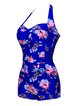 Blue Halter Padded Ruched One-Piece