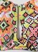 Multicolor Halter Printed Cut-outs Polyamide High Rise Bikini