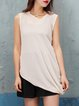 Sleeveless Asymmetrical Plain Casual Tunic