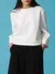White Crew Neck Casual Polyester Shift Long Sleeved Top