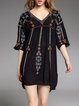 Half Sleeve Polyester Tribal Casual Mini Dress