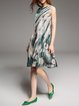 Green Silk Floral Casual Midi Dress