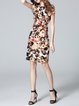 Multicolor Floral-print Vintage Crew Neck Floral Midi Dress