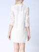 Embroidered Girly Two Piece Half Sleeve Silk-blend Shirt Dress