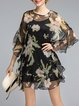 Black Floral Ruffled Silk Two Piece Mini Dress
