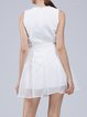 White Sleeveless Crew Neck A-line Mini Dress