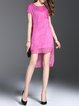 Fuchsia Shift Plain Short Sleeve Linen Midi Dress