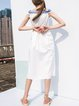 Cotton Plain Sleeveless Off Shoulder Sweet Midi Dress