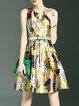 Multicolor Sweet Crew Neck Floral Mini Dress with Belt