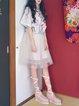 White Sweet Paneled Midi Skirt