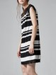 Black Casual Stripes Fringed Midi Dress