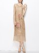 Floral Vintage Acrylic Short Sleeve Midi Dress