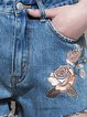 Blue Floral Casual Embroidered Denim Shorts