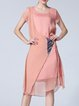 Pink Shift Short Sleeve Silk Abstract Midi Dress