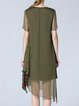 Army Green Silk Short Sleeve Midi Dress