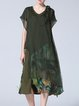 Army Green Floral Vintage Silk Midi Dress