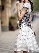 White Floral Square Neck Printed Casual Midi Dress