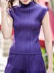 Purple Ribbed Sleeveless Short Sleeved Top