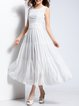 White Chiffon Sleeveless A-line Maxi Dress