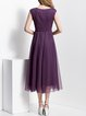 Purple Folds Polyester Sleeveless Maxi Dress