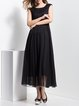 Black Sleeveless Plain Folds Maxi Dress
