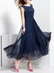 Navy Blue Sleeveless Polyester Maxi Dress