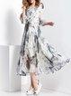 Crew Neck Half Sleeve Floral Vintage Maxi Dress
