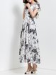 Swing Short Sleeve Beach Chiffon Folds Maxi Dress