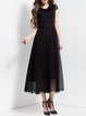 Black Short Sleeve Plain Chiffon Maxi Dress