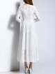 White A-line Polyester Sweet Embossed Maxi Dress