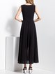 Black Shirred Sleeveless Swing Crew Neck Maxi Dress