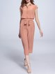 Pink Simple Silk Wide Leg Pants