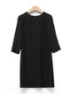 Crew Neck 3/4 Sleeve Simple Plain Cutout Mini Dress