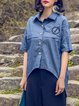 Plain Casual Half Sleeve Embroidered Denim Blouse