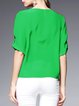 Green Crew Neck H-line Simple Silk Blouse