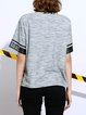 Gray Crew Neck Polyester Abstract Casual T-Shirt