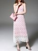 White Crocheted Floral Girly Spaghetti Midi Dress